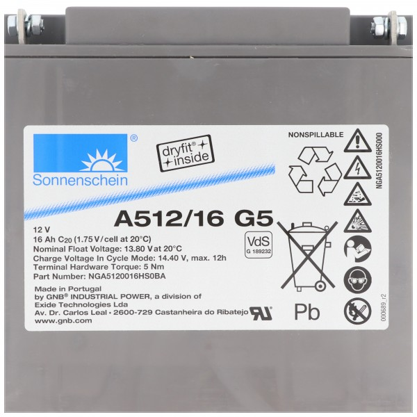 Sunshine Dryfit A512 / 16G5 blybatteri, M5 tilslutning, VDS G1892