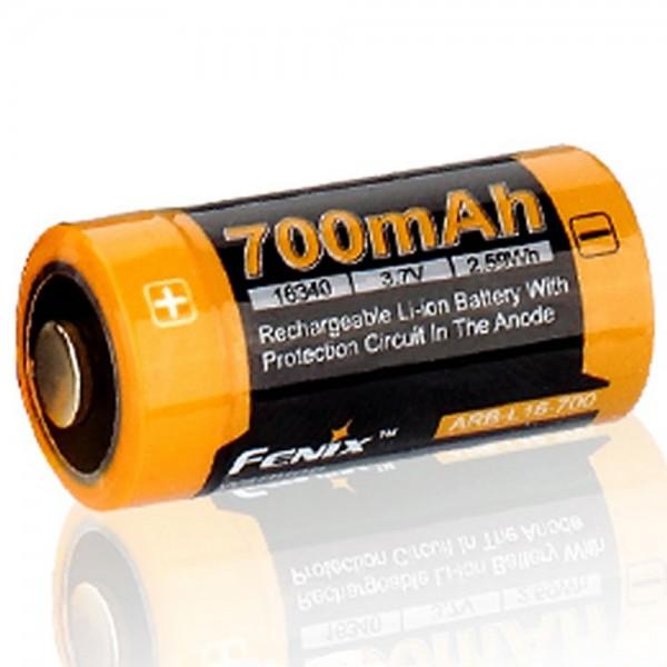 B-Ware, CR123 Et Li-ion batteri 16340 med 3,7 volt, min. 700mAh, typisk 760mAh, maks. 820mAh, 35x16mm kapacitet med AkkuShop transportboks