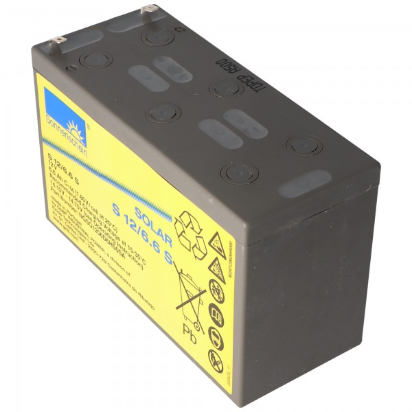 Sunshine Solar S12 / 6.6S genopladeligt batteri ledning 12V 6.6Ah
