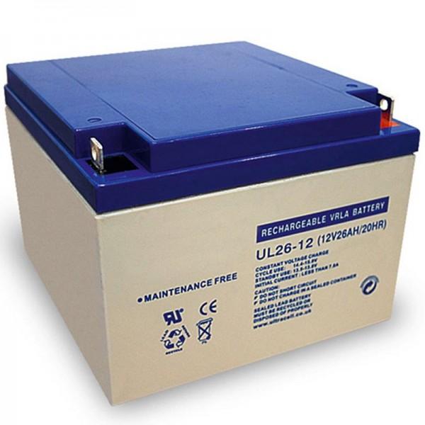 Ultracell UL26-12 blybatteri 12 volt med 26Ah og M5 skruetilslutning