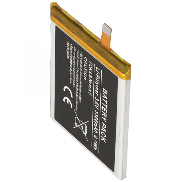 Batteri passer til LG Nexus 5, BL-T9, LG D820, D821 2300mAh Li-Polymer batteri