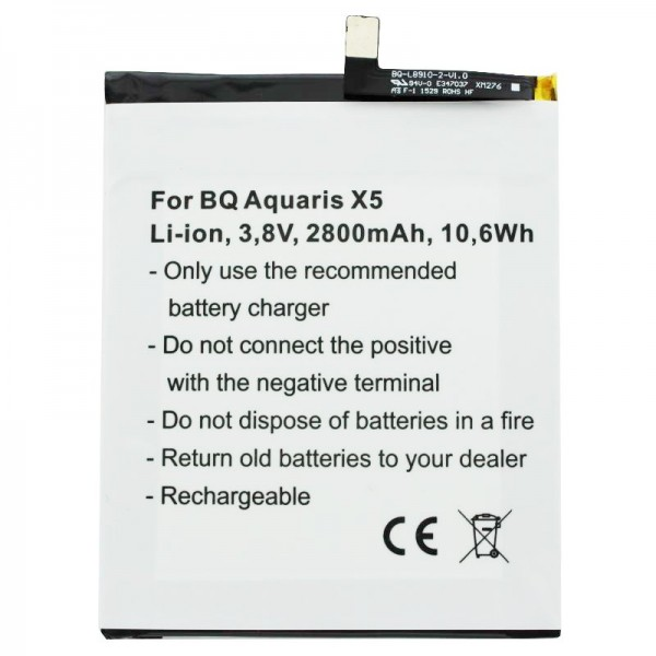 Batteri passer til BQ Aquaris X5 batteri 2900 med 3.8 Volt 2800