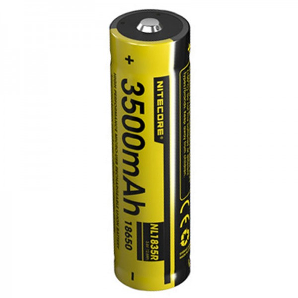 Nitecore Li-ion Batteri 18650 3,6 Volt, 3500mAh Dimensioner 68x18.3mm med Micro USB opladningsport, NL1835R NC-18650 / 35R