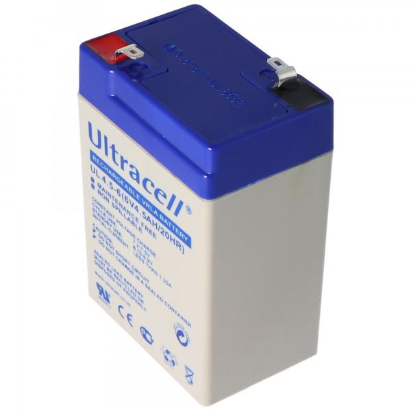 Ultracell UL 4.5-6 blybatteri med Faston 4.8mm kontakter