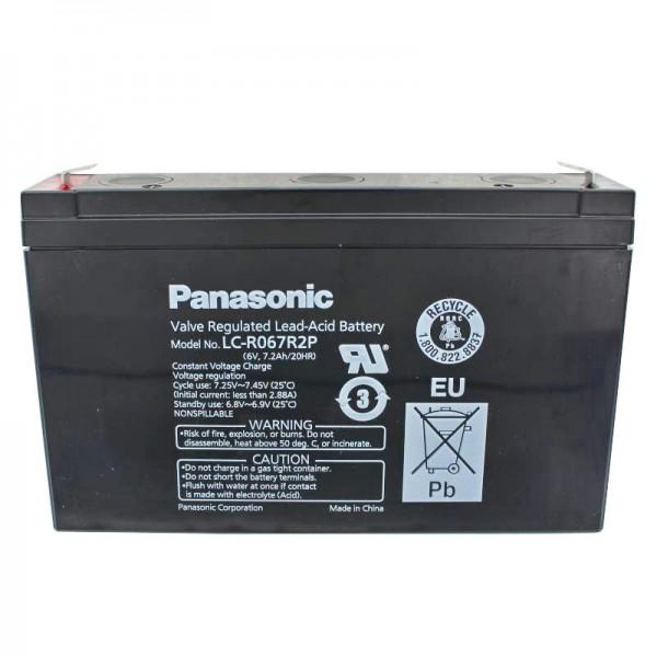 Panasonic LC-R067R2P PB blybatteri 6 Volt, 7.2Ah med Faston 4.8mm stikkontakter