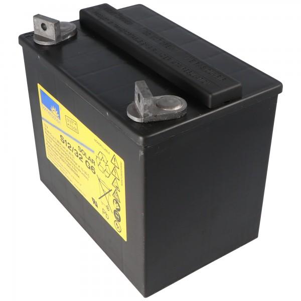 Sunshine S12 / 32G6 solbatteri blybatteri 12Volt 32Ah, M6 skrueterminal