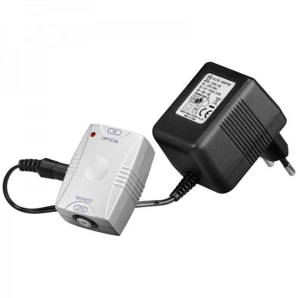 Opto-koaksial konverter inklusive strømforsyning, optisk Toslink input