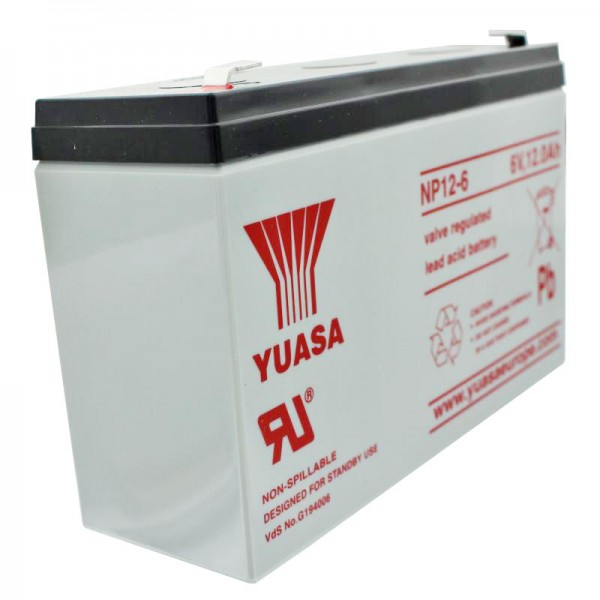 YUASA NP12-6 Batterilad PB 6 Volt 12Ah med Faston stikkontakt 6.3mm bred