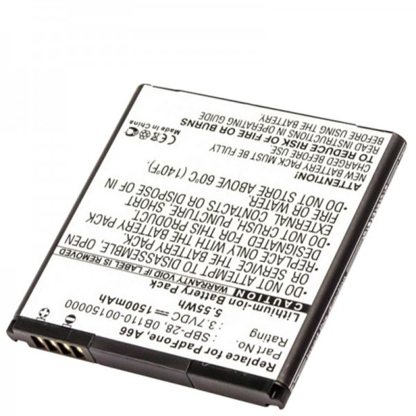 AccuCell batteri passer til Asus PadFone A66, 0B110-00150000, SBP-28
