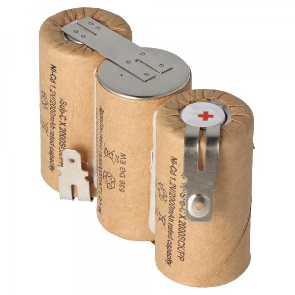 Batteri passer til Gardena ACCU 60 med Faston 6,3 mm og 4,8 mm, 2000mAh
