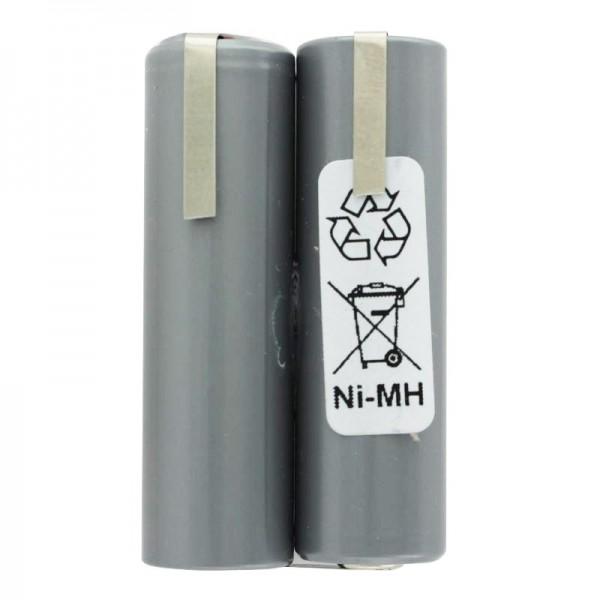 Batteri passer til hårklipper 2.4 Volt NiMH Mignon AA 2000mAh op til maks. 2200mAh, 49x15x28mm