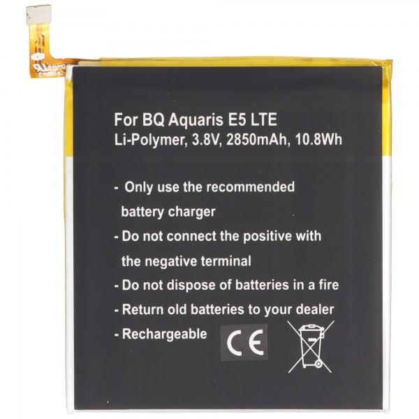 Batteri passer til BQ Aquaris 0759, 0760, 0858, Aquaris E5 4G, Aquaris E5 LTE, Aquaris E5.0 Li-Polymer 3.8 Volt 2850mAh