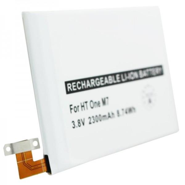 Batteri passer til HTC One M7, ekstra batteri 35H00207-01M, BN07100