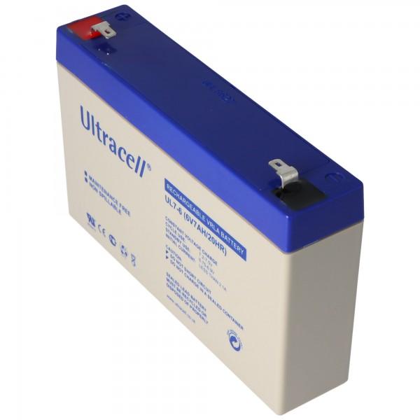 Ultracell UL7-6 blybatteri 6 volt 7Ah med Faston 4.8mm kontakter