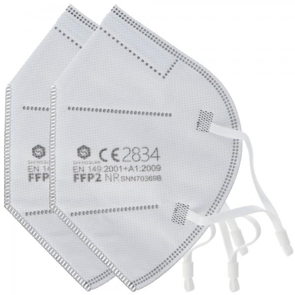 2 stykker FFP2 beskyttelsesmaske 5-lags uden ventil, certificeret i henhold til DIN EN149: 2001 + A1: 2009, partikelfiltrering halvmaske