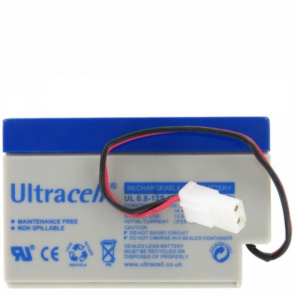 UL0.8-12 Ultracell bly genopladeligt batteri 12 volt 0,8Ah med kabel og AMP stik (vær venlig at sammenligne stik med din)