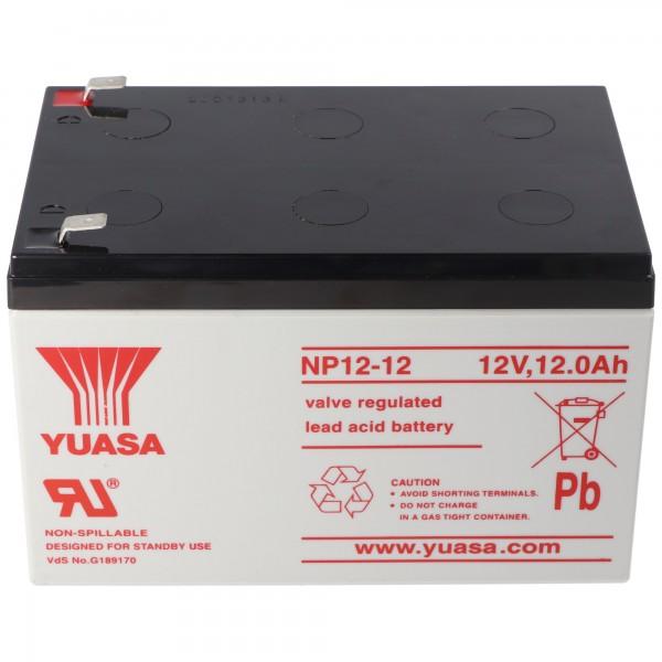 YUASA NP12-12 Batterieledning PB 12 Volt 12000mAh