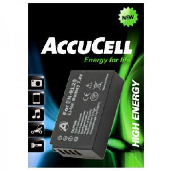 AccuCell batteri passer til EN-EL20 batteri, Nikon 1 J1 batteri