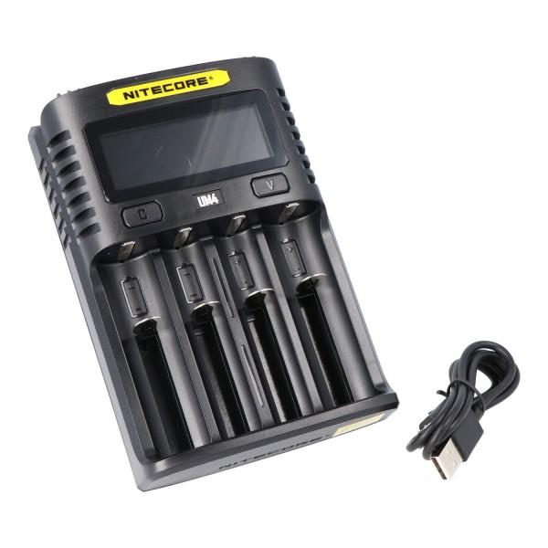 Nitecore UM4 USB Charger QC 2.0 kompatibel med Li-Ion batterier