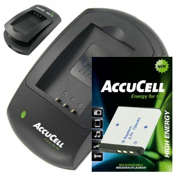 AccuCell oplader og genopladeligt batteri passer til Rollei XS-10 i berøring