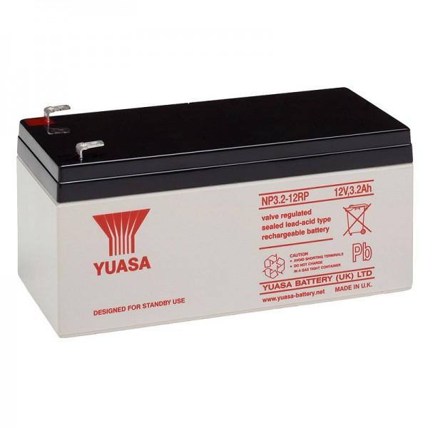 YUASA NP3.2-12 blybatteri 12 Volt, 3200mAh med Faston 4.8mm stikkontakter