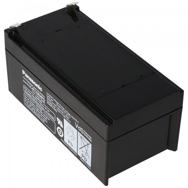 Panasonic LC-R123R4PG Batteri 12 Volt 3,4Ah med Faston F1-port 4.8mm stikkontakter