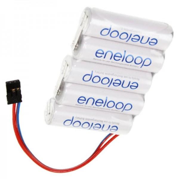 Batteri 6 Volt 1900mAh 72 x 14,5 x 50mm med Graupner-stik