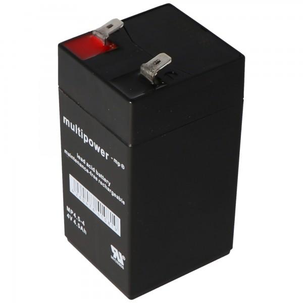 Multipower MP4.5-4 Batteri PB Lead 4 Volt, 4500mAh, 6.3mm kontakter