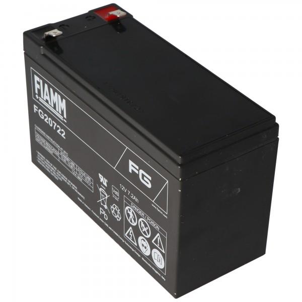 Fiamm FG20722 Batteri 12 Volt, 7.2Ah med 6.3mm stik kontakter