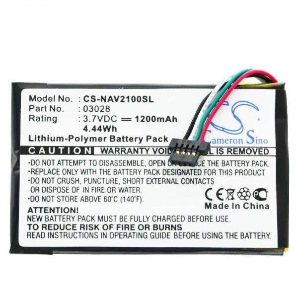 Batteri passer til Navigon 2100 Max, 2110 Max, 2120, 2120 Max