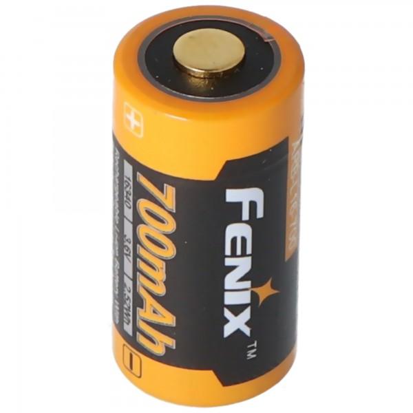 CR123 Et Li-ion-batteri 16340 med 3,7 volt, min. 700mAh, typisk 760mAh, maks. 820mAh, 35x16mm kapacitet med AkkuShop transportboks