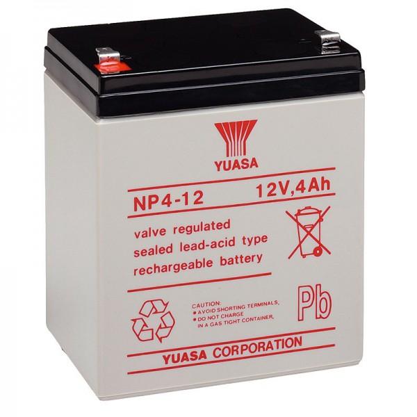 NP4-12 Yuasa Blybatteri NP4-12 med 12 Volt og 4Ah, 4,8 mm Faston Kontakt
