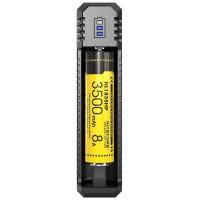 Nitecore 1-bånd USB-oplader UI1 med ladestrøm max. 800mAh, 3 LED, indlæser 21700 med maks. 77mm
